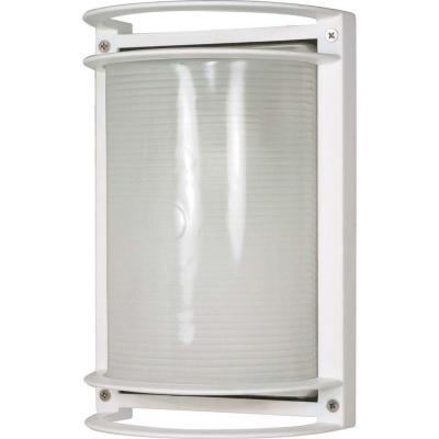 Glomar 1-Light Outdoor Semi Gloss White Rectangle Bulk Head with Die Cast