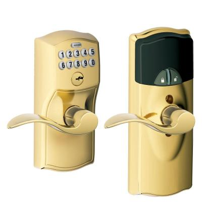 Schlage Bright Brass Home Keypad Lever with Nexia Home Intelligence