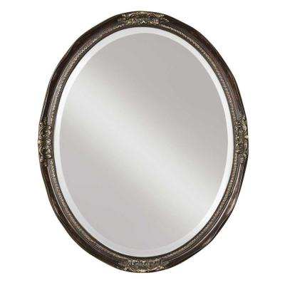 Global Direct 31 in. x 25 in. Bronze Oval Framed Mirror