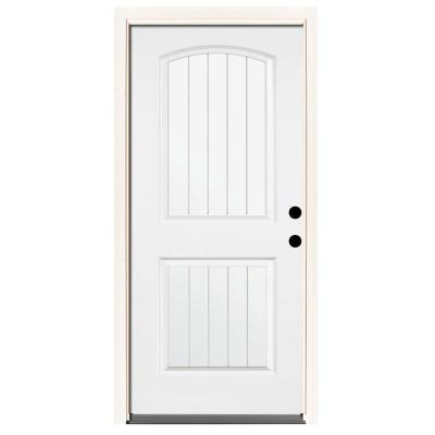 Premium 2-Panel Plank Primed Steel Prehung Front Door