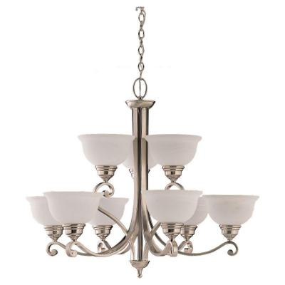 Sea Gull Lighting Serenity 9-Light Brushed Nickel Single Tier Chandelier 39060BLE-962