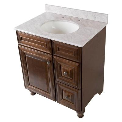 Home Decorators Collection Templin 31 in. Vanity in Coffee with Stone Effects Vanity Top in Carrera