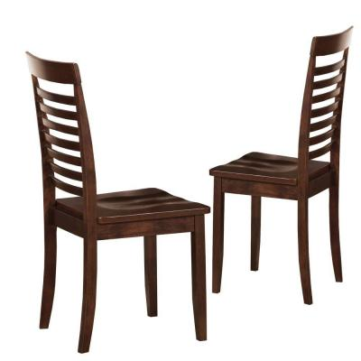Home Decorators Collection 18 in. Dark Brown Slat Back Side Chairs (Set of 2) - DISCONTINUED