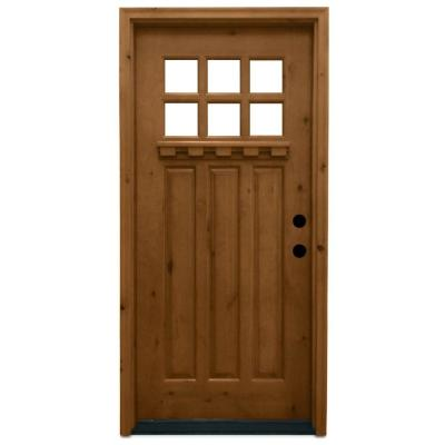 36 in. x 80 in. Craftsman 6 Lite Stained Knotty Alder Wood Prehung Front Door Product Photo