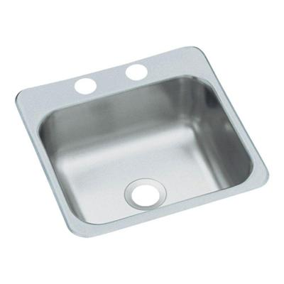 Top-Mount Stainless Steel 15 in. 2-Hole Single Bowl Kitchen Sink