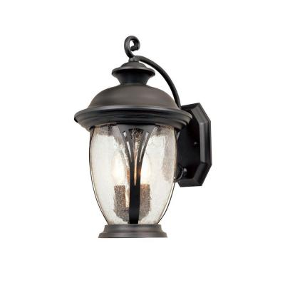 Designers Fountain Thatcher Collection 2 Light Wall Mounted Outdoor Bronze Lantern
