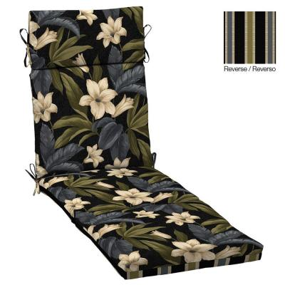 Black Tropical Blossom/Black Ribbon Stripe Reversible Outdoor Chaise Lounge Cushion
