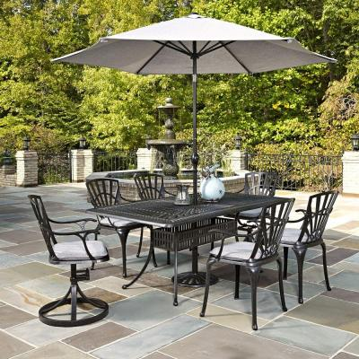 Largo 7 piece outdoor patio dining set with umbrella and gray cushions