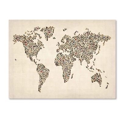14 in. x 19 in. Ladies Shoes World Map Canvas Art