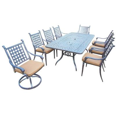 9-Piece Rectangular Cast Aluminum Patio Dining Set with Sunbrella Canvas Teak