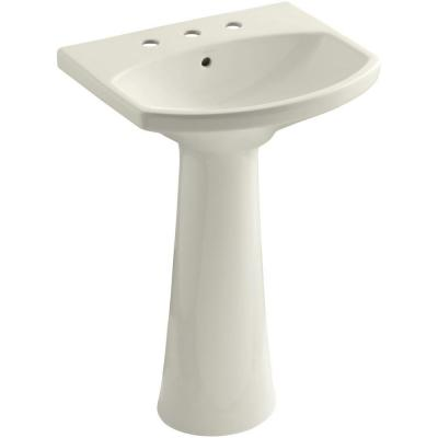 KOHLER Cimarron 8 in. Widespread Vitreous China Pedestal Combo Bathroom Sink in Biscuit with Overflow Drain