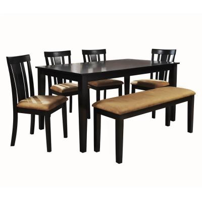 HomeSullivan Black Dining Set with Slat Back Side Chairs and 48 in. Bench (6-Piece)-DISCONTINUED