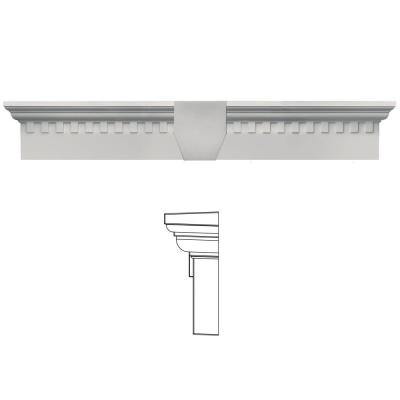 6 in. x 33 5/8 in. Classic Dentil Window Header with Keystone in 030 Paintable Product Photo