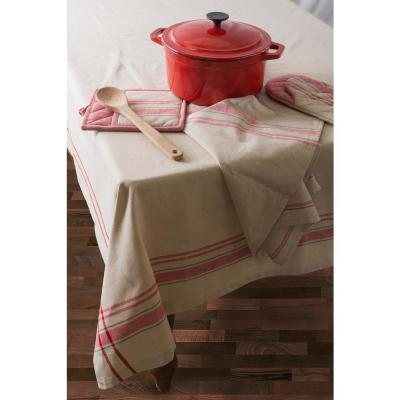 Christmas Red French Stripe Cotton Tablecloth