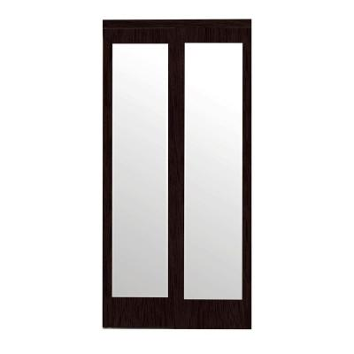 72 in. x 80 in. Mir-Mel Mirror Solid Core Cherry MDF Interior Closet Sliding Door with Matching Trim Product Photo