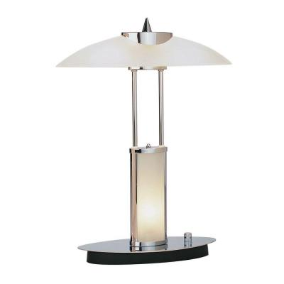 Illumine Designer Collection 17.5 in. Chrome Desk Lamp with Frost Glass Shade
