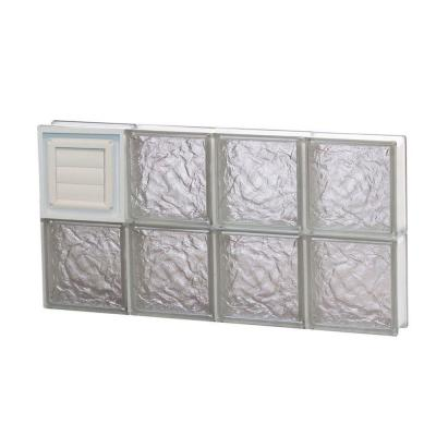 Frameless Ice Pattern Glass Block Window with Dryer Vent