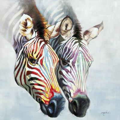 "47.25 in. x 47.25 in. ""Zebras in Color"" Hand Painted Contemporary"