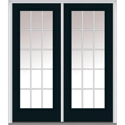 72 in. x 80 in. Classic Clear Glass GBG Full Lite Painted Majestic Steel Double Prehung Front Door Product Photo