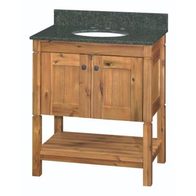 Home Decorators Collection Bredon 31 in. Vanity in Rustic Natural with Granite Vanity Top in Uba Tuba with White Basin