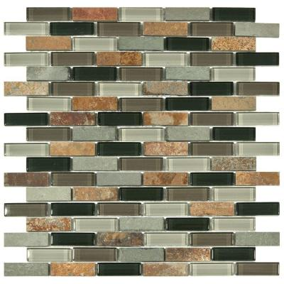 Merola Tile Tessera Subway Stonehenge 11-3/4 in. x 11-3/4 in. x 8 mm Glass and Stone Mosaic Tile