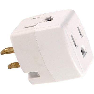 GE 3-Outlet Grounded Cube Design Adapter, White