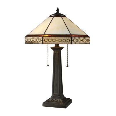Stone Filigree 24 in. Tiffany Bronze Table Lamp with Shade