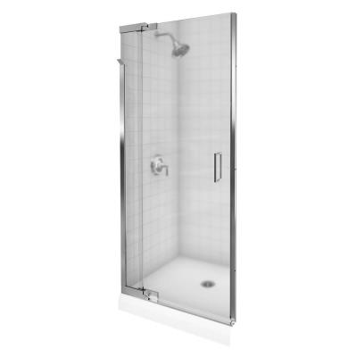 KOHLER Purist 36 in. x 72-3/8 in. Frameless Pivot Shower Door in Bright Silver Finish with Frosted Glass-DISCONTINUED