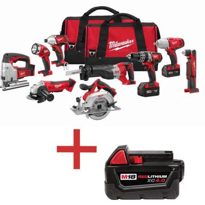 Milwaukee M18 18-Volt Lithium-Ion Cordless Combo Kit (9-Tool) with Free M18 4.0 Ah Extended Capacity Battery