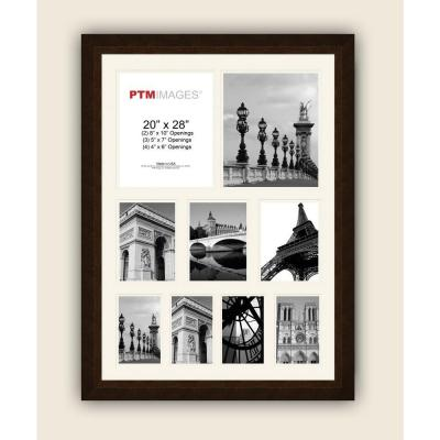 PTM Images 9-Opening 23-1/2 in. x 31-1/2 in. Multi-sized White Matted Bronze Photo Collage Frame