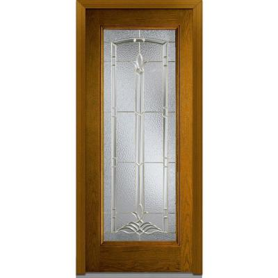 32 in. x 80 in. Bristol Decorative Glass Full Lite Finished Oak Fiberglass Prehung Front Door Product Photo