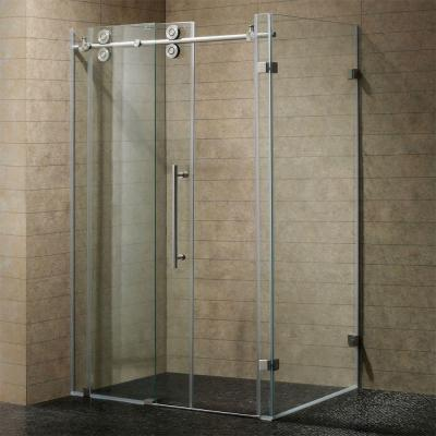 Winslow 46.5 in. x 74 in. Frameless Bypass Shower Enclosure in Stainless Steel with Clear Glass Product Photo