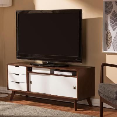 Baxton Studio Alphard White and Medium Brown Wood Entertainment Center