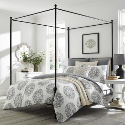 Bristol Gray/Cream Medallion Cotton Comforter Set