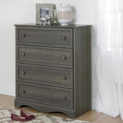 South Shore Savannah 4-Drawer Gray Maple Chest