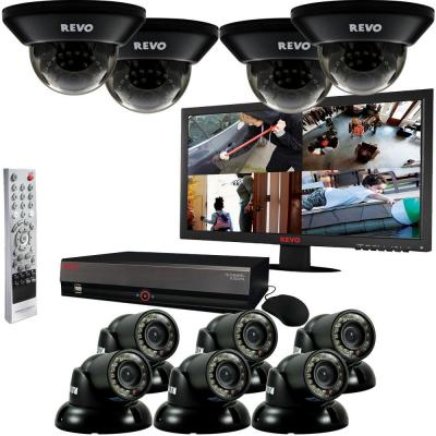 Revo 16 CH 4TB DVR Surveillance System with (10) 700TVL 100 ft. Night Vision Cameras and 23 in. Monitor