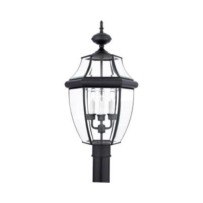 Filament Design 3-Light 15 in. Outdoor Mystic Black Post Light with Clear Glass