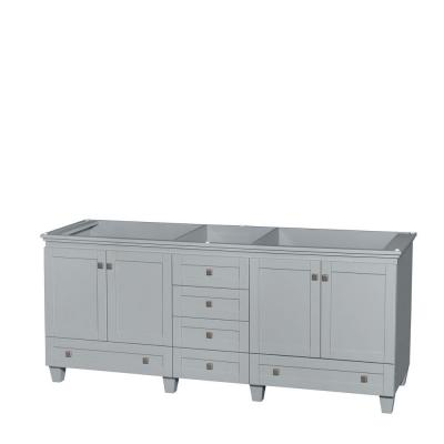 Wyndham Collection Acclaim 80 in. Vanity Cabinet in Oyster Gray