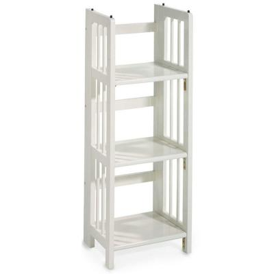 Home Decorators Collection Folding/Stacking 38 in. H x 14 in. W White 3-Shelf Bookcase