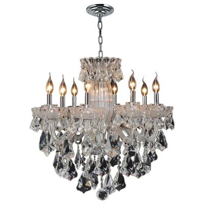 Worldwide Lighting Olde World 8-Light Chrome and Clear Crystal Chandelier
