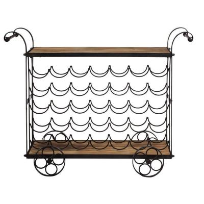 Home Decorators Collection 40 in. W Wine Trolley Beaujolais Black