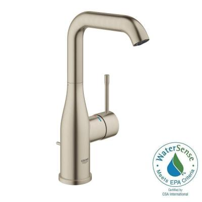 Essence New L-Size Single Hole Single-Handle Bathroom Faucet in Brushed Nickel
