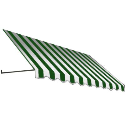 8.375 ft. Dallas Retro Window/Entry Awning (24 in. H x 36 in. D) in Forest/White Stripe Product Photo