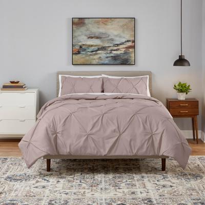 Celina 3-Piece Dusty Mauve Pinched Pleat Comforter Set