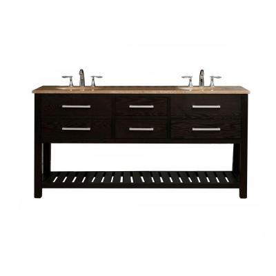 Virtu USA Clementina 72 in. Double Basin Vanity in Dark Espresso with Natural Stone Vanity Top in Travertine-DISCONTINUED