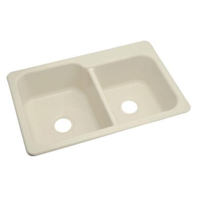 STERLING Maxeen Dual Mount Vikrell 33x22x8-3/8 4-Hole Single Bowl Kitchen Sink in Almond