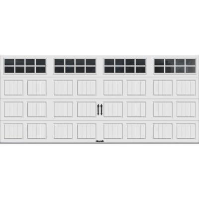 Clopay Gallery Collection 16 ft. x 7 ft. 18.4 R-Value Intellicore Insulated White Garage Door with SQ24 Window