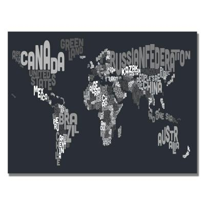 22 in. x 32 in. Font World Map VII Canvas Art