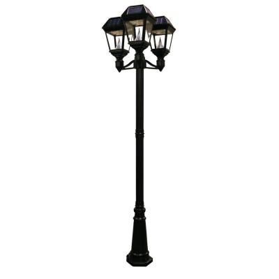 Gama Sonic Imperial II 3 Head Solar Black Outdoor Lamp Post With 21 Bright Wh
