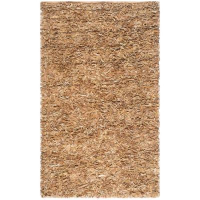 Leather Shag Light Gold 8 ft. x 10 ft. Area Rug